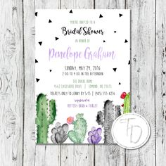 Bohemian cactus bridal shower invitation by Trusner Designs