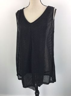 Alfani Women's Shirt SIZE LARGE Black Shimmer Tank Pleated  | eBay