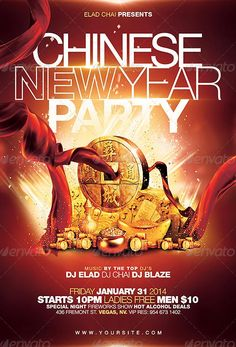 Chinese New Year Party Flyer Template