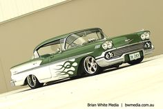 58 Chevy Bel Air Sport Sedan <3 the Green Flames!