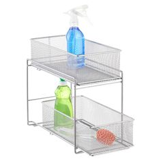 Mesh Drawer Organizer -- narrow, can fit to side of plumbing; two trays allow storing two layers of cleaning supplies.
