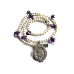 Amethyst & Freshwater Pearl Necklace with a 'Cheeky Pinch of Vintage'...