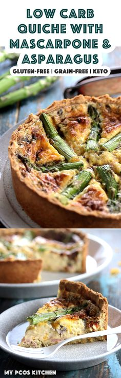 My PCOS Kitchen - Low Carb Quiche with Mascarpone & Asparagus - A Gluten-free Keto Quiche made with creamy mascarpone, ham, mushrooms, asparagus and cheddar cheese. #lowcarb #keto #quiche #mascarpone via @mypcoskitchen