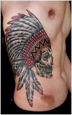 Indian headdress - Usually American men have tattoos like this. I like colorful Indian Headdress. #TattooModels #tattoo