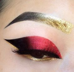 Solid metallic red eyeshadow that fades to black, with shinny gold eyeliner and brows! Makeup Inspo, Makeup Art, Makeup Tips, Hair Makeup, Gold Makeup, Eyebrow Makeup, Gel Eyeliner, Glitter Makeup, Makeup Ideas