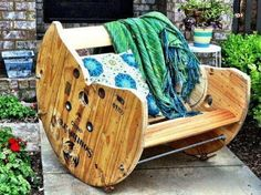 upcycle cable spool turned into rocking chair