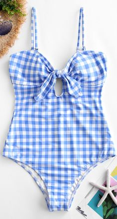 a6838ea6b433b Plaid Tied Cami Swimsuit. Style: Cute Swimwear Type: One-piece Gender: For  Women ...