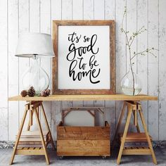 It's so good to be home - Printable Poster - Typography Print Black & White Wall…