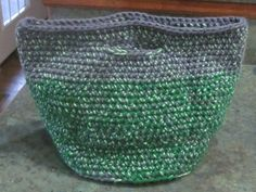 Handmade Crocheted Green and Gray Purse Tote with by LeftoverStuff, $29.00