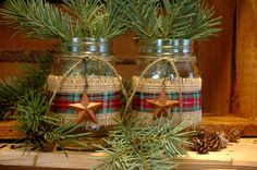 Rustic set of 2 Mason Jars with Barn Stars and Burlap for your Christmas decor. $18.00, via Etsy.