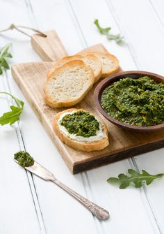 Arugula Pistachio Pesto  2 oz arugula (about 2 C, packed)  ⅓ c olive oil  ¼ C shelled pistachios, lightly toasted  1 garlic clove, roughly chopped  ¼ t red pepper flakes  sea salt & freshly ground black pepper, to taste