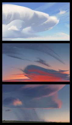 Clouds and Skies, Cathleen McAllister on ArtStation at… Landscape Concept, Fantasy Landscape, Landscape Art, Landscape Paintings, Landscapes, Concept Art Tutorial, Digital Art Tutorial, Digital Painting Tutorials, Matte Painting