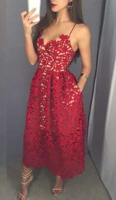 Mid-calf Red Lace Prom Dresses Custom Made Women Dresses