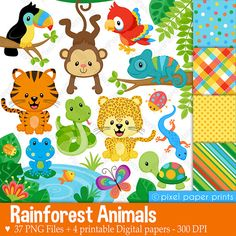 Rainforest Animals Set de Clip Art y Papeles por pixelpaperprints