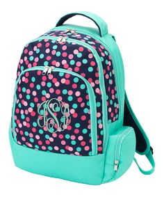 Turquoise & Pink Dots Monogram Backpack