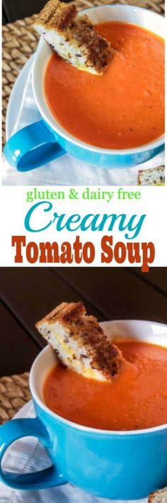 Warm up on those cool nights with this easy Creamy Gluten Free and Dairy Free Tomato Soup Lactose Free Recipes, Gluten Free Soup, Gf Recipes, Gluten Free Cooking, Gluten Free Desserts, Soup Recipes, Whole Food Recipes, Cooking Recipes, Healthy Recipes