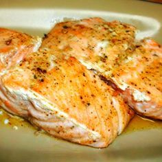 """""""This is my own quick and easy recipe for a very moist, buttery baked salmon."""""""