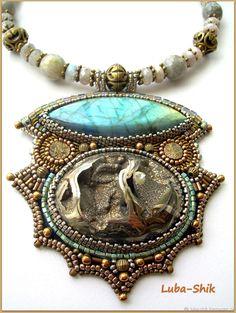 """Купить Колье """"Асгард"""" - лабрадорит, авторская работа, авторское украшение, колье из бисера, колье с камнями"""