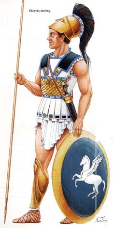 "Athenian hoplite wearing the ""linothorax"". Ancient Greek Clothing, Ancient Greek Art, Ancient Greece, Greek History, Roman History, Ancient History, Classical Greece, Classical Antiquity, Renaissance"