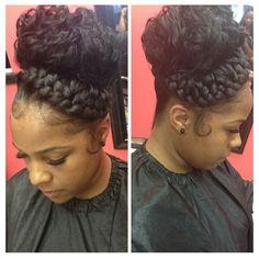 ༻❁༺ ❤️ ༻❁༺ Beautiful Braided Up-Do ༻❁༺ ❤️ ༻❁༺ Ponytail Hairstyles, Girl Hairstyles, Curly Hair Styles, Natural Hair Styles, Hair Addiction, Hair Laid, Cornrow, Beautiful Braids, Girls Braids