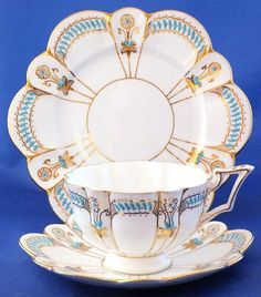 Antique 'Foley China' trio (cup, saucer and plate) by Wileman & Co. who became Shelley in about 1910 ~ I believe that this trio dates to c1905. It's pattern number 7879 in the early Court shape and the light blue applied enamel and gilded decoration is hand painted.