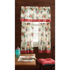 Adorn your kitchen windows with plenty of country charm with The Pioneer Woman Country Garden Kitchen Curtain Tier and Valance Set. It is ideal for small windows. The Pioneer Woman kitchen curtains feature a feminine take on the classic prints. The Pioneer Woman, Pioneer Woman Kitchen, Pioneer Women, Pioneer Girl, Kitchen Curtains And Valances, Kitchen Curtain Sets, Valance Curtains, Kitchen Towels, Red Kitchen
