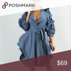 Denim Gathered Loose Fit Jacket 100% Cotton. Denim long body jacket in loose fit. Long gathered puff sleeves, drape neck and waist tie. There's enought room to down 1 size for a more tailored look. Light weight denim. Jackets & Coats Capes