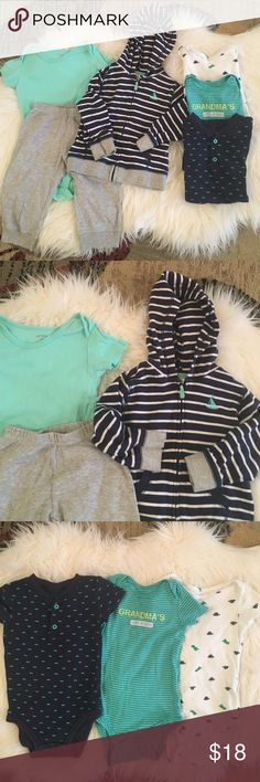 Cute baby bundle 7pc All In excellent  condition . 1 outfit ( pants,onesie ,hoodie ) + 4 selected onesies . No pets, stains, smoke free! Carter's Matching Sets