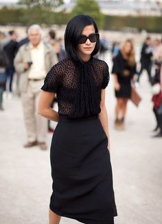Sheer lace blouse and black pencil skirt