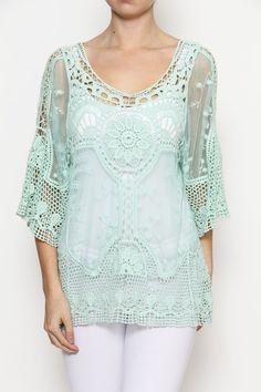 Baroque Pattern Crochet Top-Mint