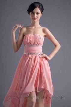 Sheath/Column Strapless Asymmetric Chiffon Zip up Ruffles Sleeveless Prom Dress TSKN008