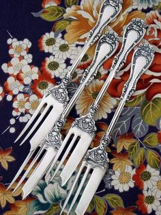 1901 Hanover Pie (Pastry) Forks  Hanover pattern by Wm. A. Rogers  Pastry Forks  1901, Art Nouveau American Silverplate  Extremely Collectib...