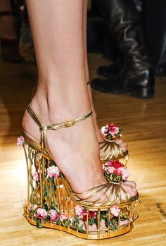 Floral cage wedges / Dolce & Gabbana Fall/Winter 2013