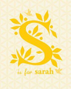 Custom Child's Name Monogram : Digital Typography Design