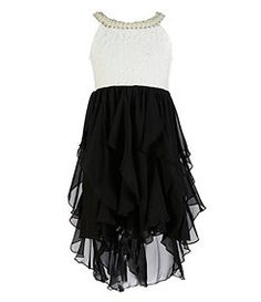 Rare Editions 7-16 Lace-Bodice Chiffon-Skirted Dress