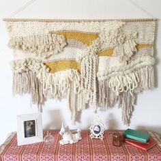 Made to Order Mustard & Cream Woven Wall Hanging // Wall Decor // Wall Art // Fiber Art // Textiles Weaving Loom Diy, Weaving Art, Tapestry Weaving, Modern Tapestries, Weaving Wall Hanging, Wall Hangings, Weaving Textiles, Textile Art, Fiber Art