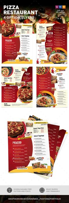 Buy Pizza Restaurant Menu Flyers 2 – 4 Options by Mike_pantone on GraphicRiver. *Save with Bundle! Pizza Restaurant Menu Print Bundle 2 is also available. Pizza Restaurant, Menu Pizza, Pizza Menu Design, Pizza Flyer, Menu Flyer, Food Menu Design, Food Poster Design, Pizza Logo, Restaurant Flyer