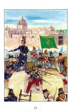 An image which depicts the Mexican defense of a fortified city against the American forces during the Mexican American war. Mexican Army, Mexican American War, American History, American Uniform, Military Art, Archaeology, Art Reference, Halloween, Painting