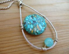 Turquoise Pendant Stone Wire Wrapped Jewelry Necklace Handmade Minimalist on Etsy, $33.92