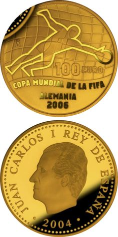 N♡T.100 euro: FIFA World Cup Germany 2006 – Issue 2004.Country:Spain  Mintage year:2004 Face value:100 euro Diameter:23.00 mm Weight:6.75 g Alloy:Gold Quality:Proof Mintage:25,000 pc proof