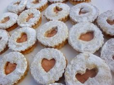 Cashew Vanilla Bean Linzer Valentine's Cookies with Pink Grapefruit Curd Filling – Diary of a Mad Hausfrau Grapefruit Curd, Linzer Cookies, Cookie Cutter Set, Valentine Cookies, Onion Rings, Doughnut, Cookie Recipes, Vanilla, Tasty
