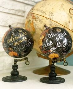 Excited to share this item from my shop: Custom Globe- Personalized Globes- Hand Lettered Globe- Calligraphy Globe Centerpiece- World Map Globes Globe Art, Globe Decor, Map Globe, Pretty Letters, Globe Ornament, World Globes, Graduation Decorations, Wine Bottle Crafts, Black Paper