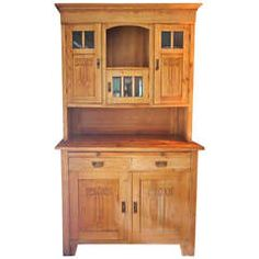 Antique Old Pine Hutch Sideboard Cabinet