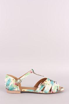 1814744ecb95 Qupid Tropical Print Fisherman Flat Sandals