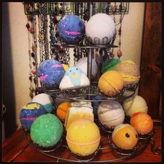 Love putting my lush cosmetics bath bombs and bubble bars on display. Looks great and smells terrific! Cupcake holders are great!