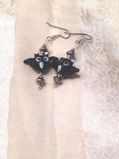 Black Owl Earrings for Halloween Samhain by NorthCoastCottage, $19.00