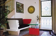 Isaac Manevitz's New Jersey home an end table designed by Michele de Lucchi in 1984 and a sofa designed by Peter Shire in 1986, both produced by Memphis. collective founded in the 1980s by Ettore Sottsass and others. Turns out that Manev