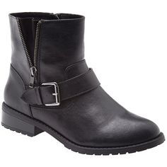 Lane Bryant Wide Calf Side detail moto boot ($70) ❤ liked on Polyvore featuring shoes, boots, ankle boots, black bootie, moto boots, black wide calf boots and black motorcycle boots