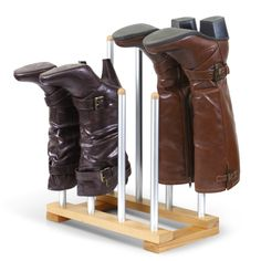INNOKA New Modern Standing Wooden/ Aluminum Boot Rack Organizer Shape Preserver for Riding Boots/ Rain Boots/ Shoes, Brown - Boot Organization, Boot Storage, Closet Storage, Closet Rod, Hanging Shoe Organizer, Shoes Organizer, Boot Rack, Hanging Shoes, Shoes Stand