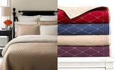 Martha Stewart Collection Solid Diamond Khaki Quilts